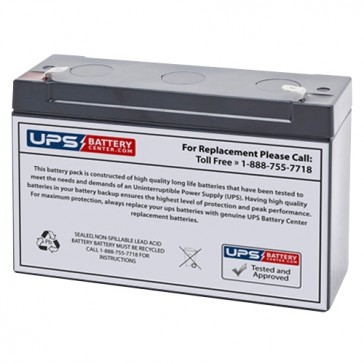 TLV6120F1 - 6V 12Ah Sealed Lead Acid Battery with F1 Terminals