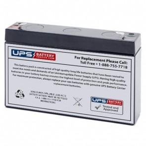 Acumax 6V 7.2Ah AM7.2-6 Battery with F1 Terminals