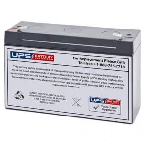 EMERGI-LITE 6V 12Ah 12CSM54 Battery with F1 Terminals