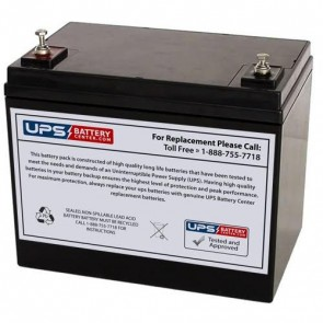 Leoch 12V 75Ah DJM1275H Battery with M6 Insert Terminals