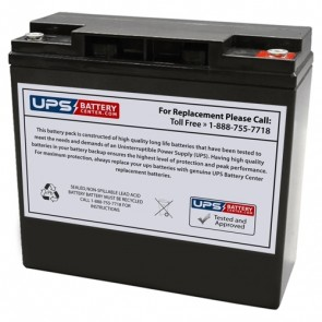 Zonne Energy 12V 18Ah FPG12180 Battery with M5 Terminals