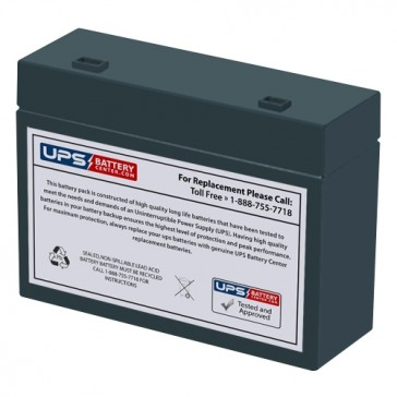 Leoch 12V 6Ah DJW12-5.5 Battery with +F2 -F1 Recessed Terminals