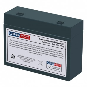 DataLex 12V 6Ah NP6-12R Battery with +F2 -F1 Recessed Terminals