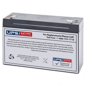 EMERGI-LITE 6V 12Ah 12M4CS Battery with F1 Terminals
