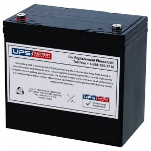GFX 12V 55Ah NP55-12 Battery with M6 - Insert Terminals
