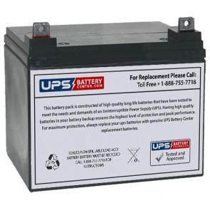 Power-Sonic 12V 33Ah PS-12330 Battery with M6 Nut & Bolt Terminals