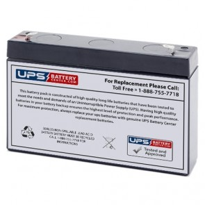 Power-Sonic 6V 7Ah PS-665 Battery with F1 Terminal