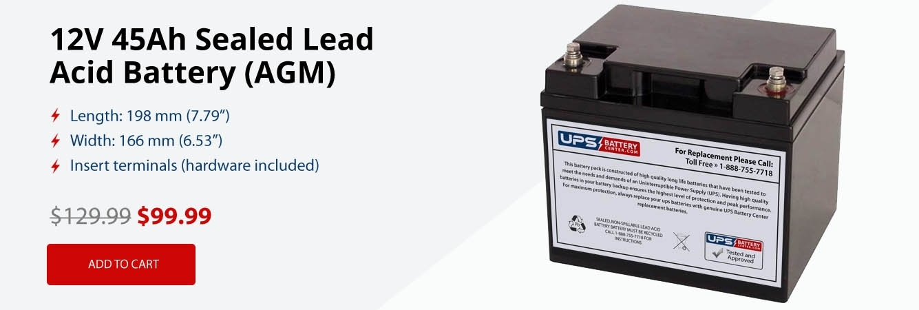 12V 45Ah Sealed Lead Acid AGM Battery on Sale for Only $99.99