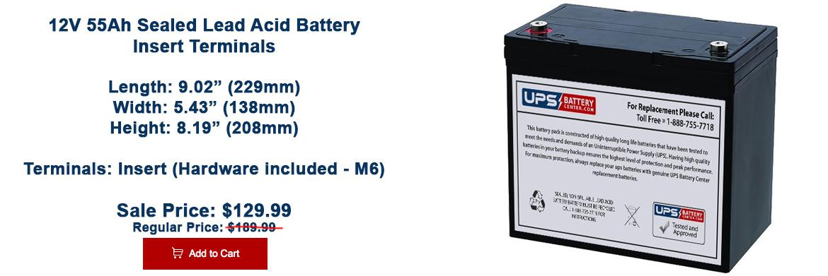12V 55h sealed lead acid battery on sale now!